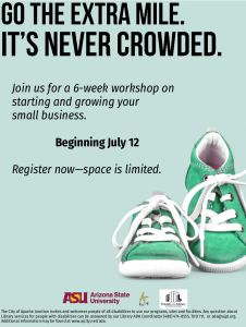 Flyer for Small Business Startup School with sneakers