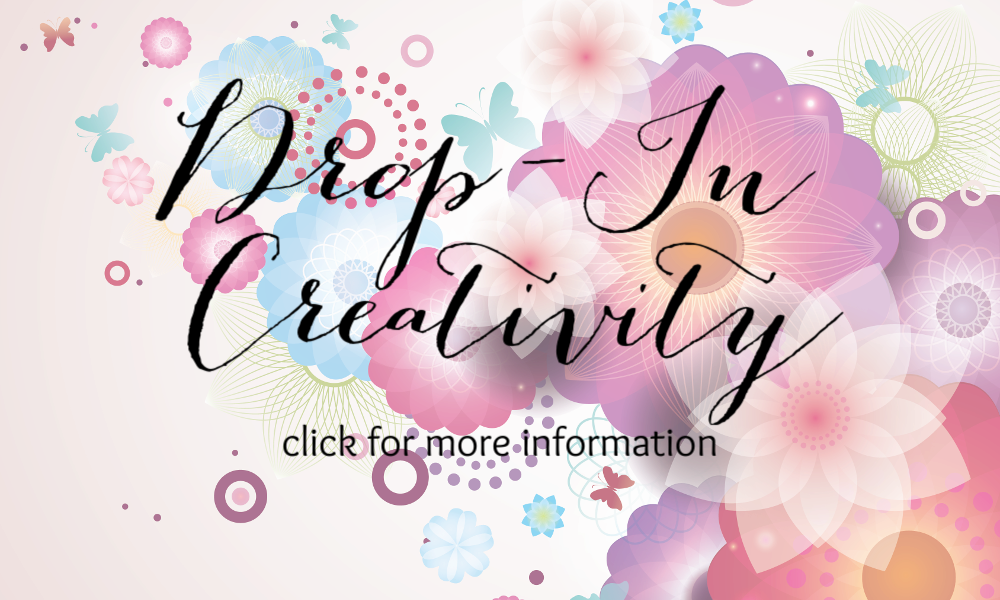 Flowers with text Drop-In Creativity: Click for more information