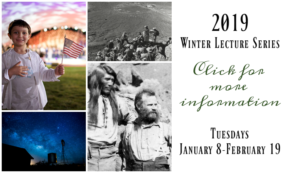 Collage of images and text for the 2019 Winter Lecture Series