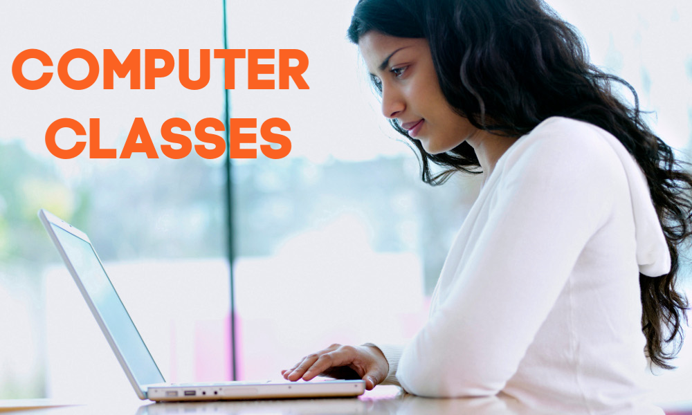 Woman with laptop and text Computer Classes