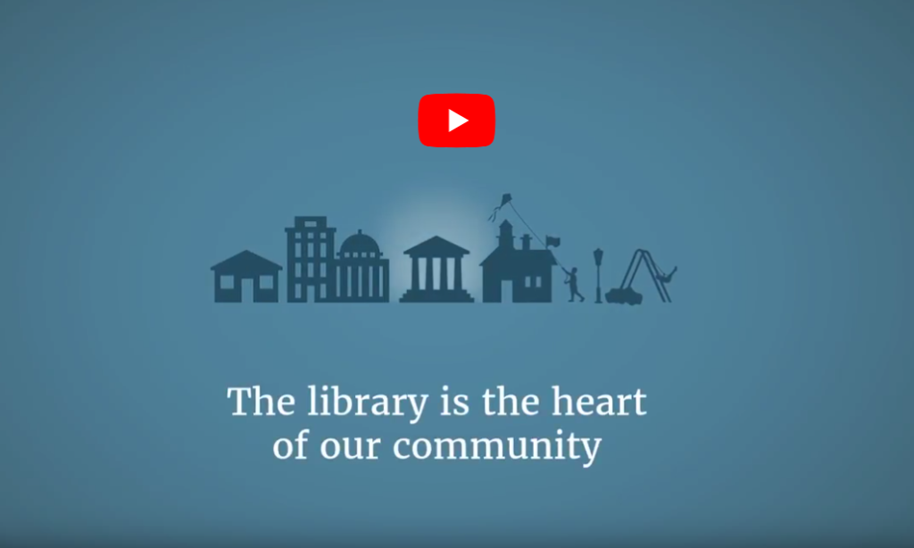 Blue text with city icons and the words the library is the heart of our community
