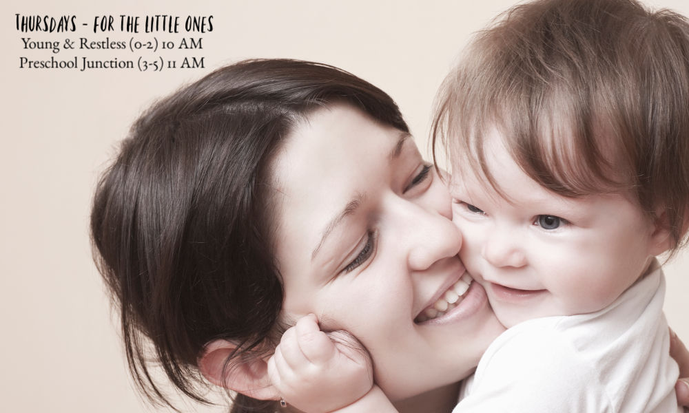 Mom with child. Text Thursdays for the Little Ones: Young & Restless (0-2) 10 AM Preschool Junction (3-5) 11 AM